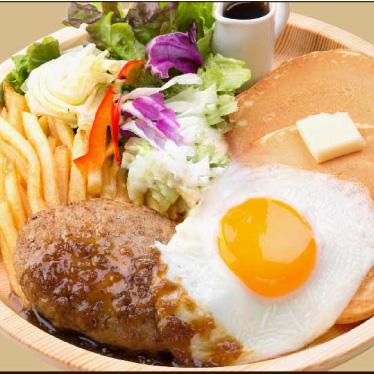 ハンバーグ&エッグパンケーキの画像